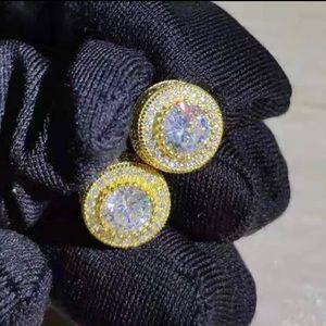 Unisex Bling Round Zircon Stud Earrings